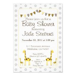 Giraffe Baby Shower Invitation, yellow and brown