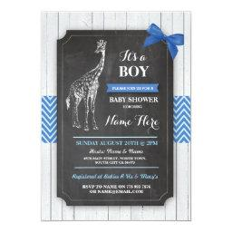 Giraffe Blue  Party Boy Wood Invite