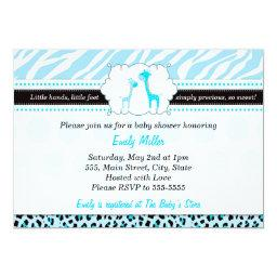 Giraffe  Baby Boy Shower Turquoise