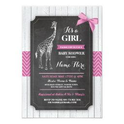 Giraffe Pink Baby Shower Party Girls Wood Invite