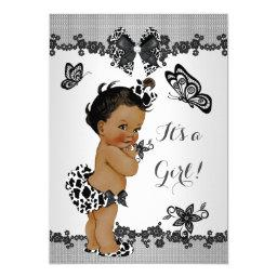 Girl Baby Shower Butterfly Black White Ethnic