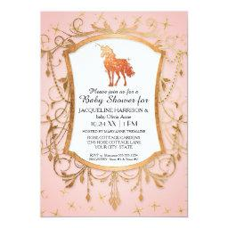 Girl Baby Shower Magical Unicorn Rose Gold Sparkle