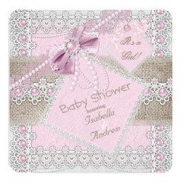 Girl  Pink Pearl Bow Lace Burlap 2