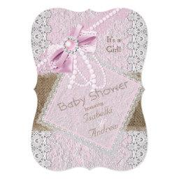 Girl Baby Shower Rustic Pink Bow Pearl Lace 2