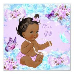 Girl  Teal Purple Butterfly Ethnic