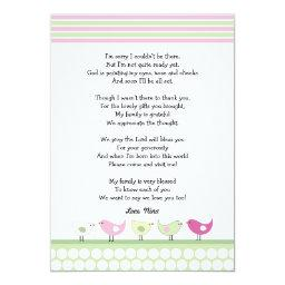 Girl baby shower thank you notes / pink birds