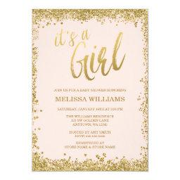 Girl Blush Pink Faux Gold Glitter Baby Shower