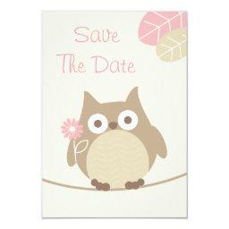 Girl Owl Baby Shower Save The Date