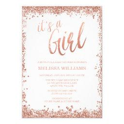 Girl Rose Gold Faux Glitter Baby Shower