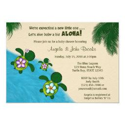 GIRL Sea TURTLE Baby Shower Invite PURP (Honu) 04B