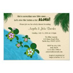 GIRL Sea TURTLE Baby Shower Invite TWIN (Honu) 04D