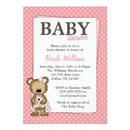 Girl Teddy Bear  Pink Dots