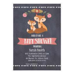 Girls Chalkboard Fox Baby Shower