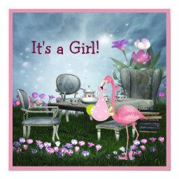Girl's Pink Flamingo Wonderland Baby Shower