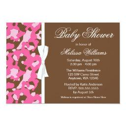 Girly Pink Brown Camo Ribbon Baby Shower