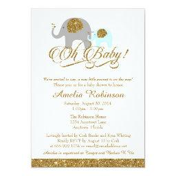 Glitter  Invitation, Elephant Peanut