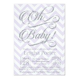 Glitter Baby Shower  Silver Purple lilac