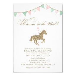 Glitter Carousel Horse | Welcome To The World Baby