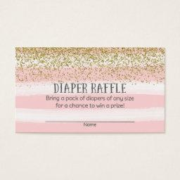 Gold and Pink Baby Shower Diaper Raffle Tickets