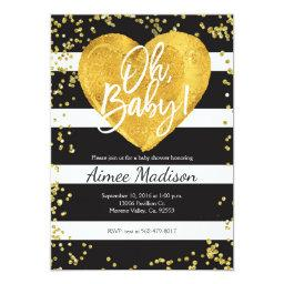 Gold black white striped baby shower