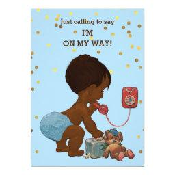 Gold Confetti Ethnic Boy on Phone Baby Shower