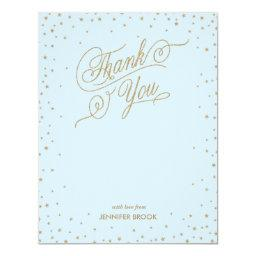 Gold Confetti Stars Blue Thank You