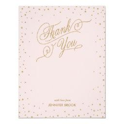 Gold Confetti Stars Pink Thank You