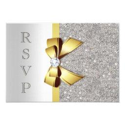 Gold Faux Bow Silver Sequins Diamonds RSVP