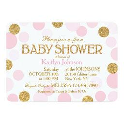 Gold Glitter and Pink Scattered Dots Baby Shower