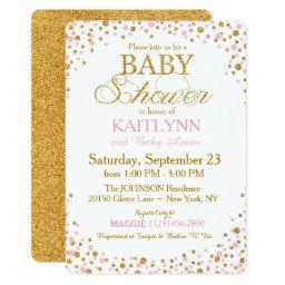 Gold Glitter and Pink Sprinkle Baby Shower