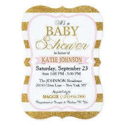 Gold Glitter Stripe Baby Shower Invitation