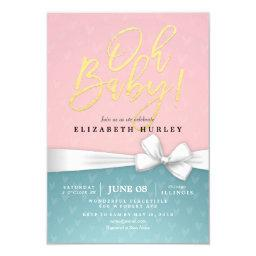 Gold Script White Ribbon Blue Pink Baby Shower