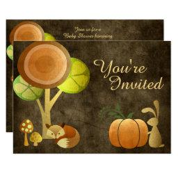 Golden Autumn Fox and Bunny Baby Shower