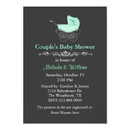 Gray and Mint Green Vintage Couple's Baby Shower