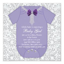 Gray and Purple Damask Baby Girl Shower