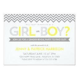 Gray and Yellow Chevron Baby Gender Reveal Party Invitations