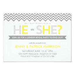 Gray and Yellow Chevron Baby Gender Reveal Party