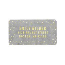 Gray and Yellow Watercolor Dots  Label