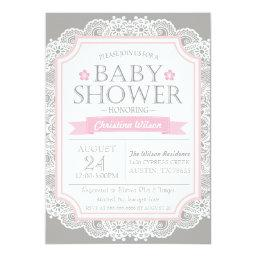 Gray Pink & Lace Baby Shower