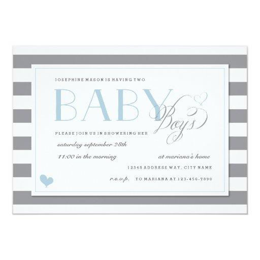 Gray & White Stripe Twins Baby Boy Shower Blue