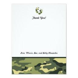 Green Camo Baby Shower Thank you notes feet