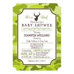 Green Camo, Deer; Boy Baby Shower