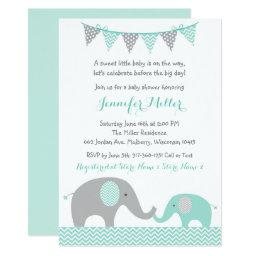 Green Chevron Elephant Baby Shower