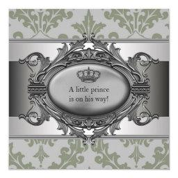 Green Damask Crown Little Prince Boy