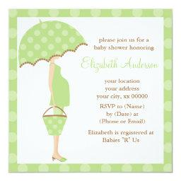 Green Polka Dots Umbrella Mom Baby Shower