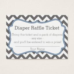 Grey and Blue Chevron Diaper Raffle Ticket