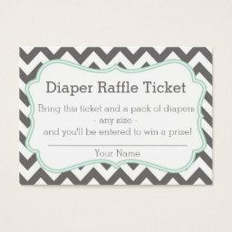 Grey and Mint Chevron Diaper Raffle Ticket