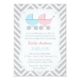 Grey Chevron Strollers Twins Baby Shower