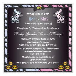 Halloween Baby Gender Reveal Zebras & Pumpkins