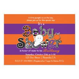 Halloween  Orange Purple Invitation.